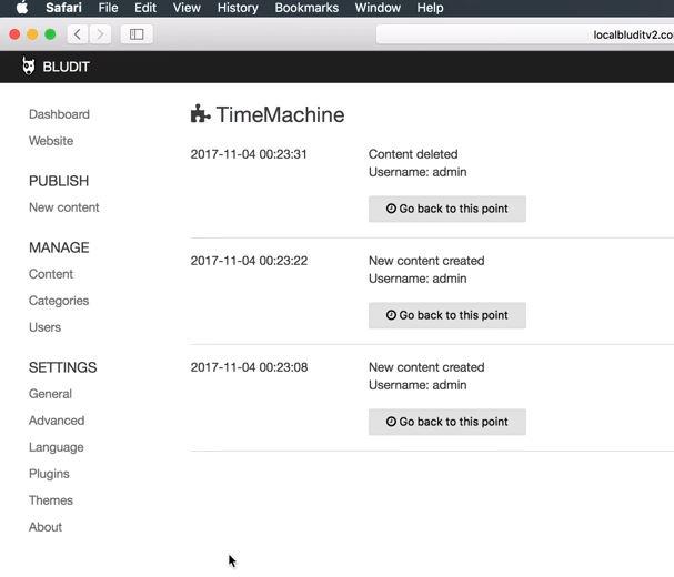 Bludit Time Maschine Plugin