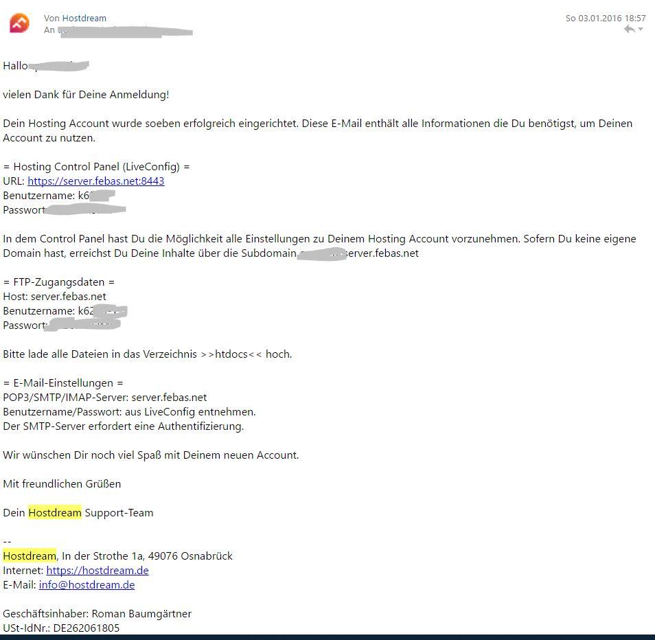 Zugangsdaten für LiveConfig und den Server