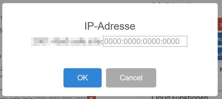 Hinzufügen Dialog bei Webtropia für IPv6-Adressen