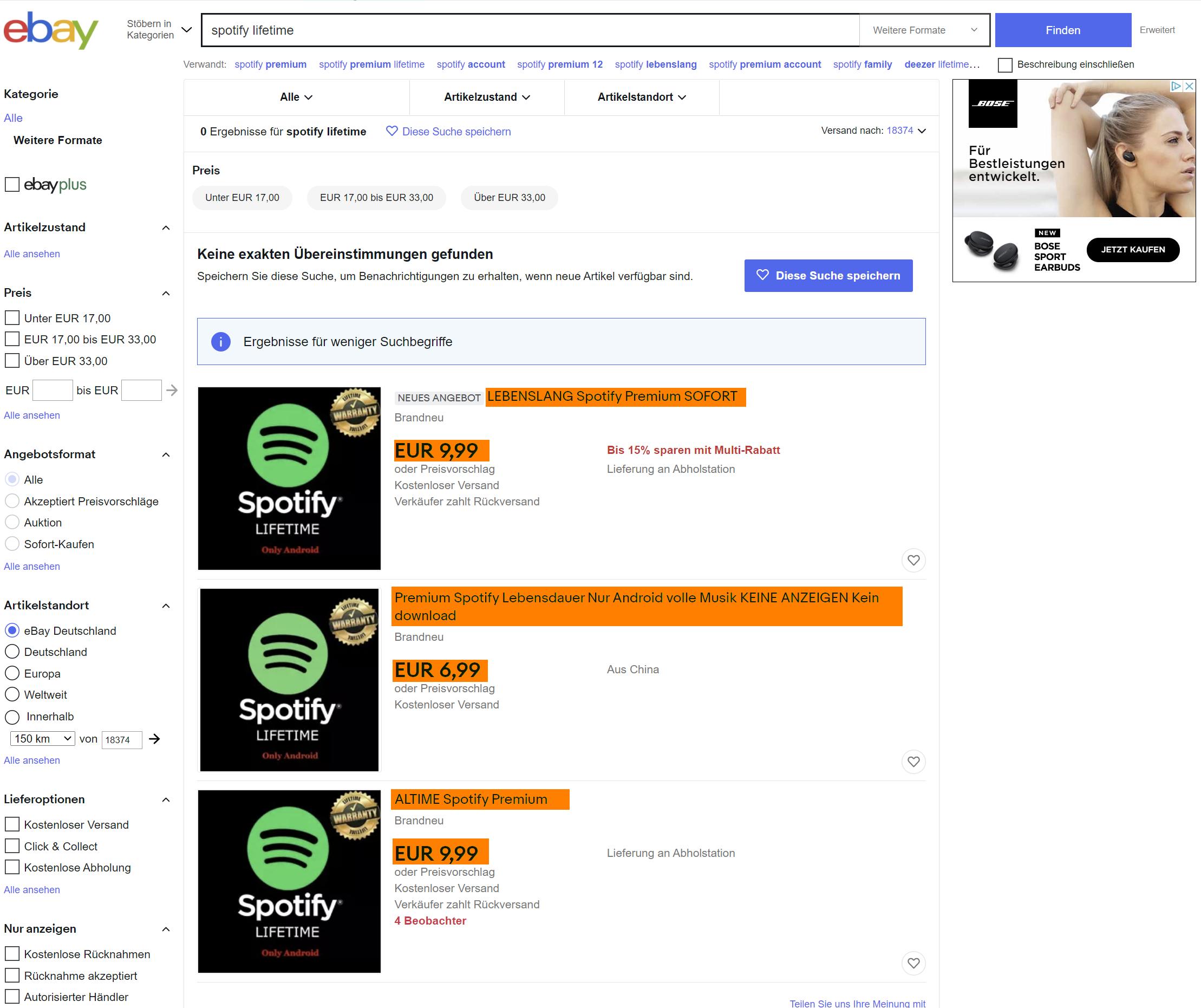 Ergebnisliste bei eBay auf der Suche nach Spotify Lifetime