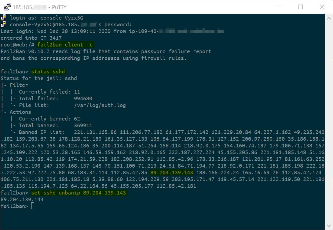 fail2ban unban der eigenen IP
