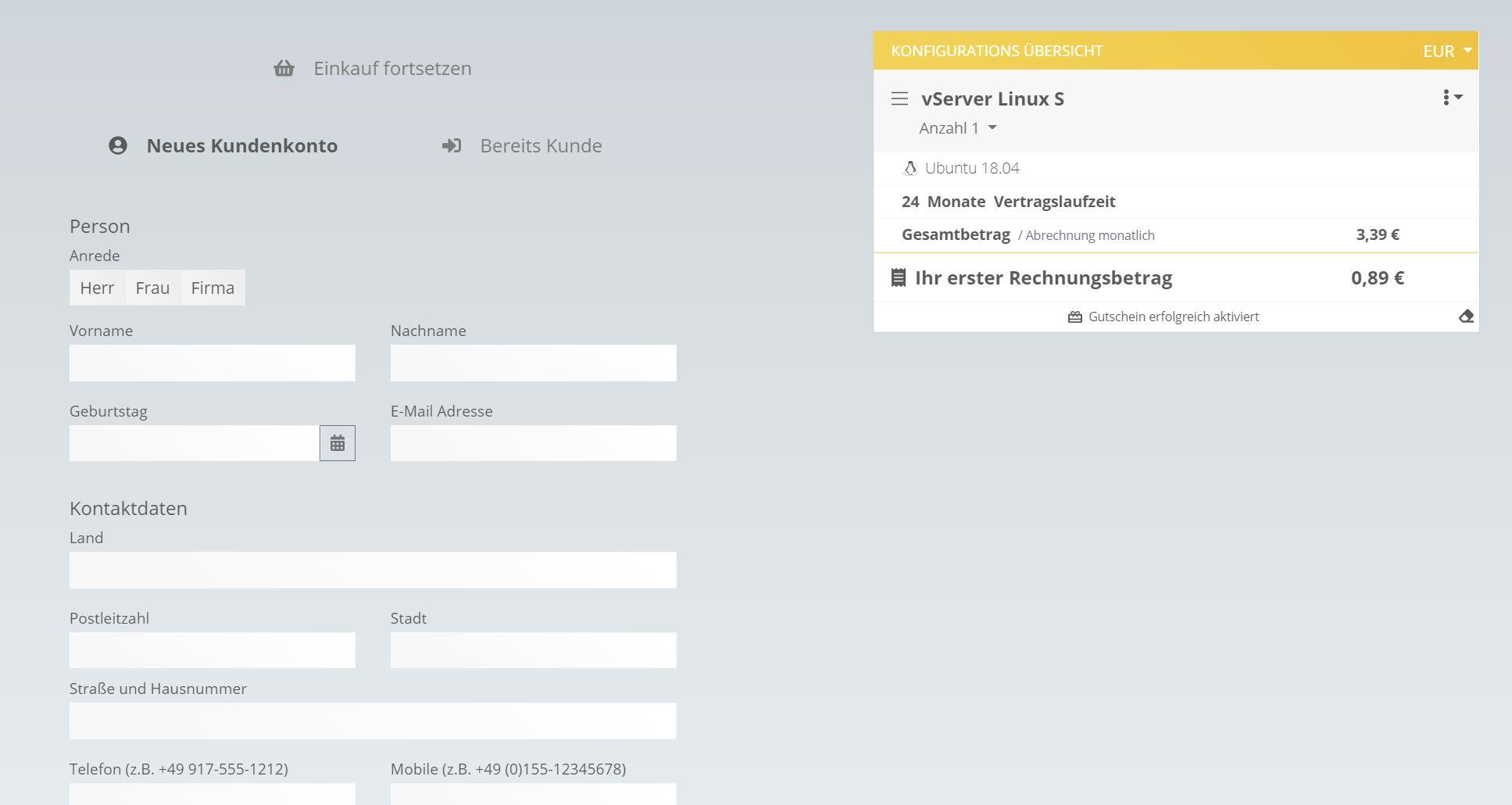 Gutschein und Kundenkonto bei Webtropia