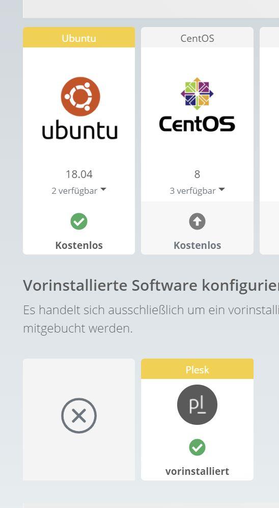 Webtropia bietet nur bei Ubuntu Plesk an