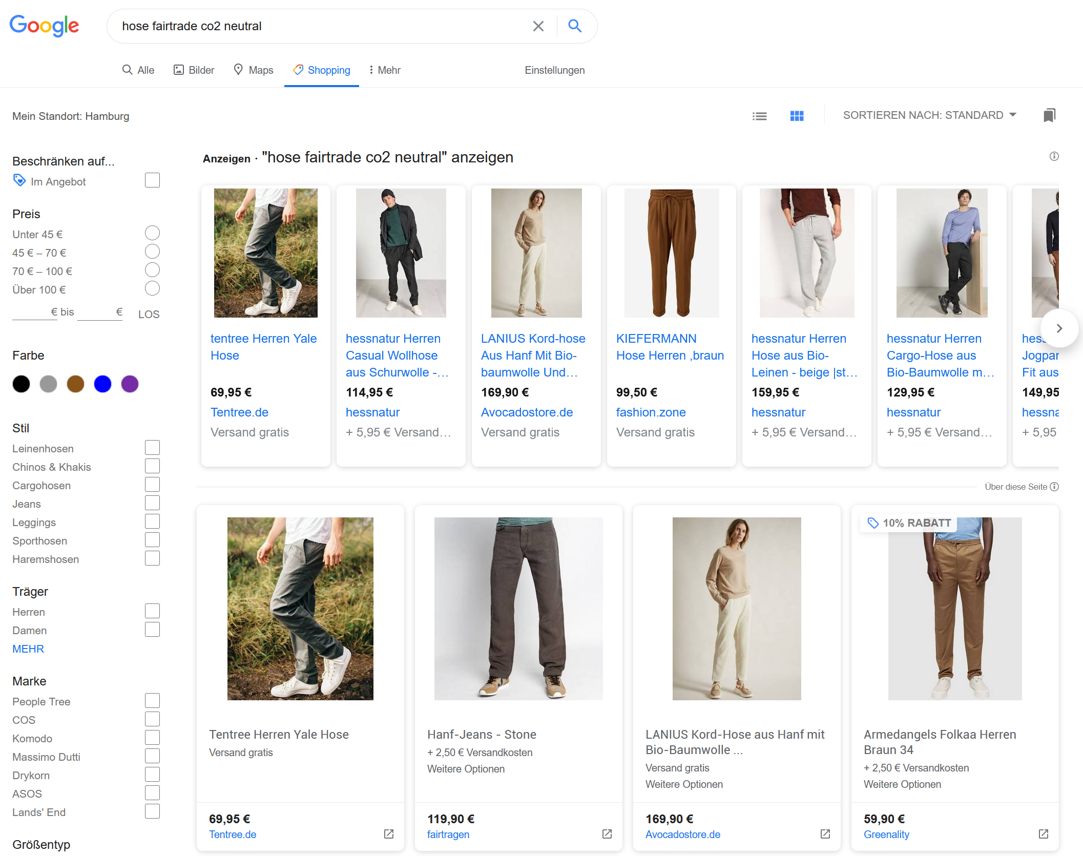 Hosensuche mit Google-Shopping