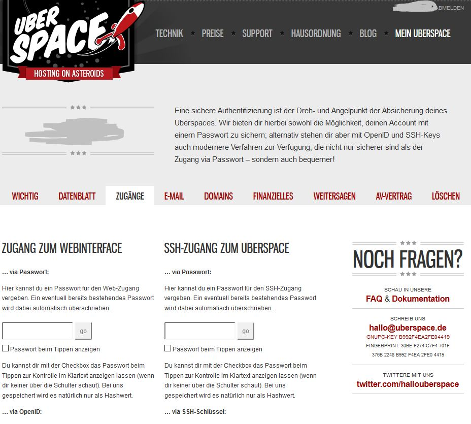 Dashboard bei Uberspace